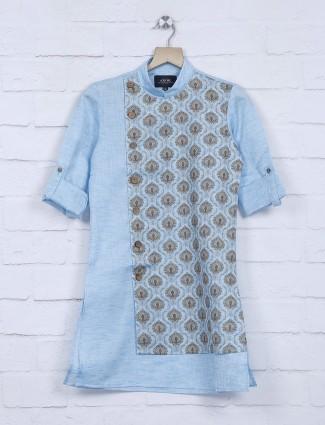 Festive function sky blue cotton kurta suit