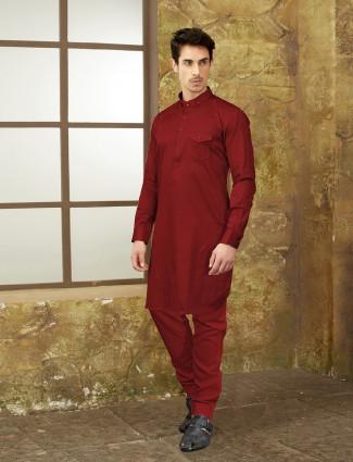 Festive maroon pathani suit