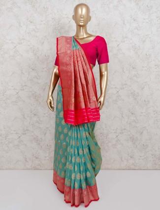 Festive saree in green semi silk