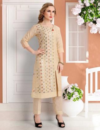 Festive wear beige cotton silk punjabi pant suit