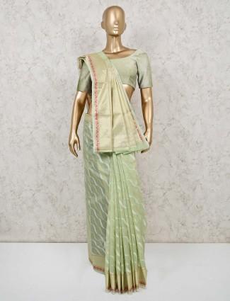 Festive wear cotton banarasi silk saree in pista green