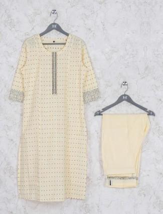 Festive wear cream color kurti set in cotton