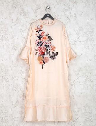 Festive wear cream hue cotton silk kurti