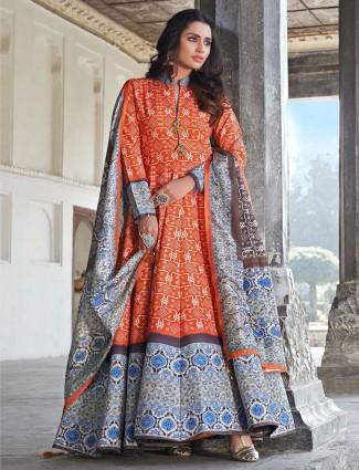 Festive wear designer orange cotton silk anarkali suit