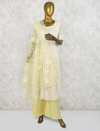 Festive wear georgette palazzo suit in cream color