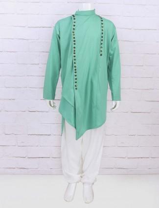Festive wear light green kurta suit