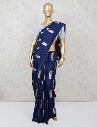 Festive wear navy cotton saree