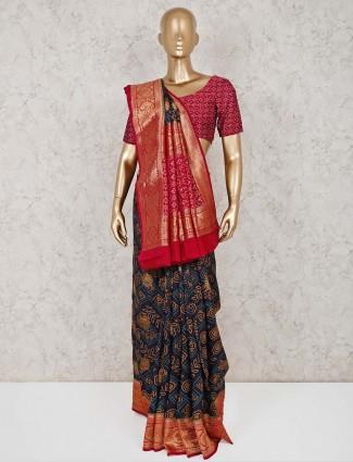 Festive wear navy semi silk saree