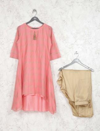 Festive wear pink color cotton fabric kurti set