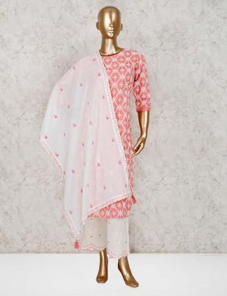 Festive wear pink cotton kurti set