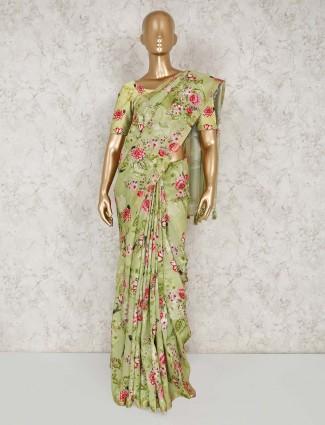 Festive wear printed light green saree