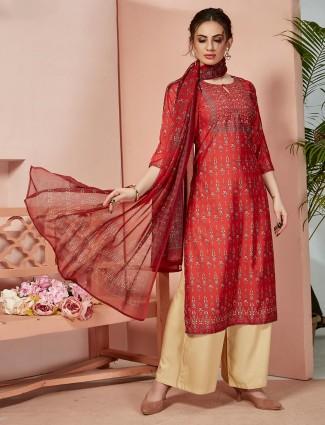 Festive wear red palazzo set in cotton silk