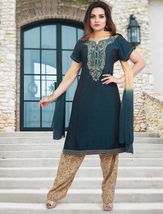 Festive wear teal green cotton punjabi salwar suit