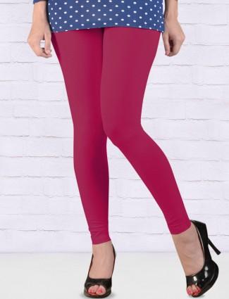 FFU magenta color solid ankal length leggings