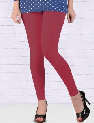 FFU pink color cotton ankal length leggings