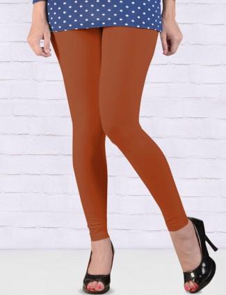 FFU rust orange color cotton ankal length leggings