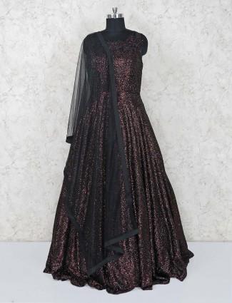 Floor length gown in maroon
