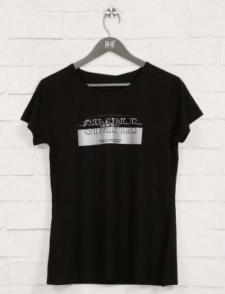 Foil printed black cotton top