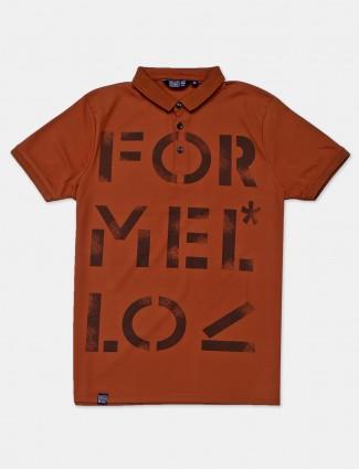 Freeze light brown printed mens polo t-shirt