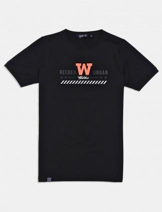 Freeze printed black slim fit t-shirt