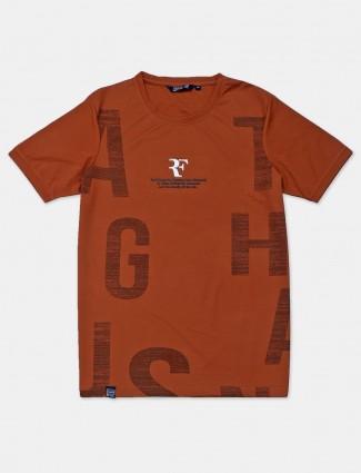 Freeze printed brown cotton t-shirt