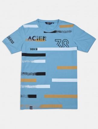 Freeze printed light blue slim fit t-shirt