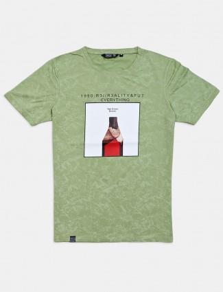 Freeze printed light green slim fit t-shirt