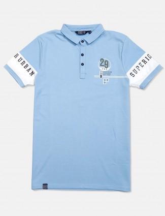 Freeze sky blue solid slim fit t-shirt