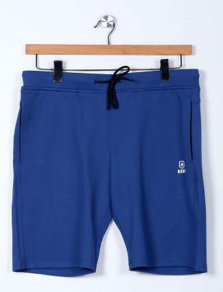 Freeze solid cotton lycra blue short