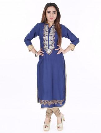 G3 Exclusive blue cotton casual wear kurti