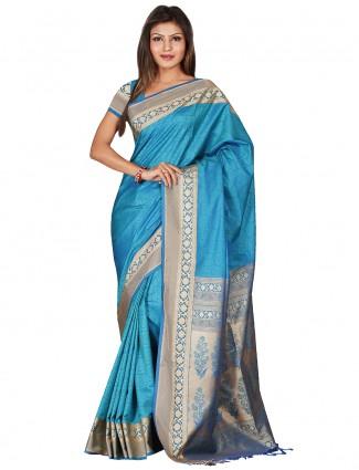 G3 Exclusive blue silk festival sari