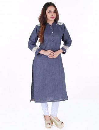 G3 Exclusive plain blue cotton casual wear kurti