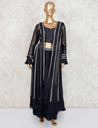 Georgette black designer indo western sharara suit