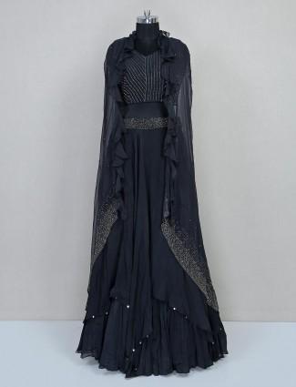 Georgette black lehenga choli with jacket for wedding