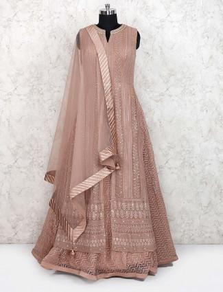 Georgette fabric light brown floor length anarkali salwar suit