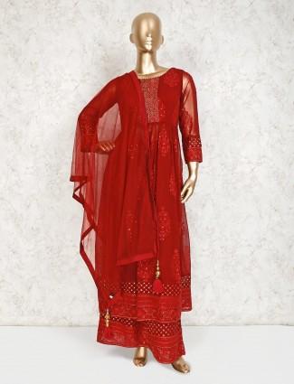 Georgette maroon designer palazzo suit