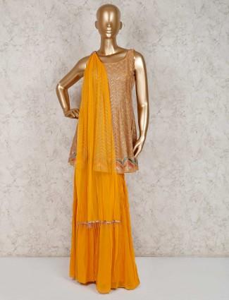 Georgette orange punjabi sharara suit
