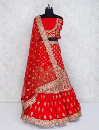 Georgette red bridal semi stitched lehenga choli