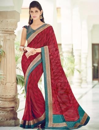 Georgette wedding wear printed maroon saree