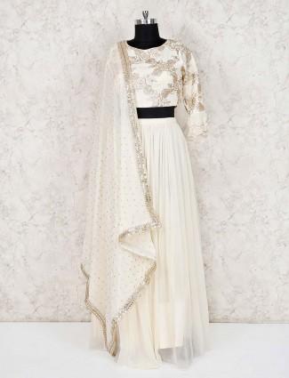 Georgette white lehenga choli for wedding