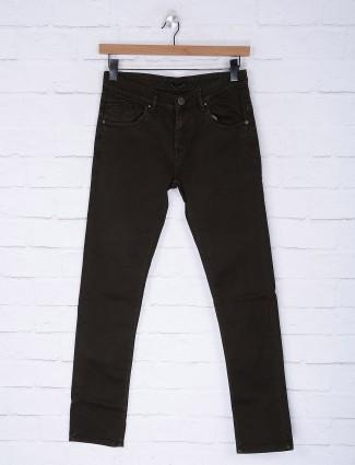 Gesture olive hued denim fabric jeans