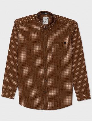 Gianti brown polka dot printed shirt