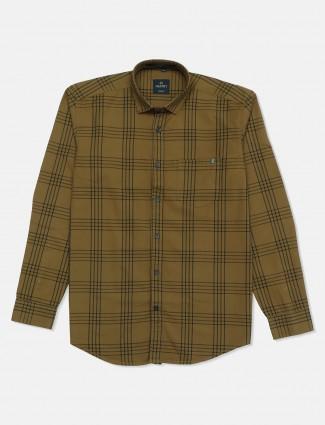 Gianti checks khaki slim fit mens shirt