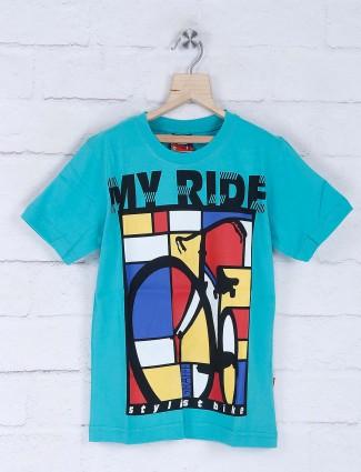 Giraffe aqua color bicycle printed t-shirt