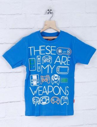 Giraffe blue alphabetical printed cotton t-shirt