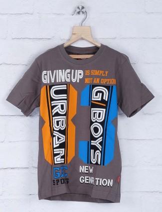 Giraffe dark grey cotton fabric printed t-shirt