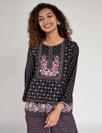 Global Desi black designer cotton printed casual wear top