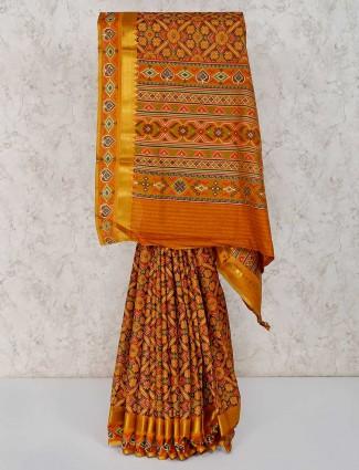 Gold cotton silk patola printed saree