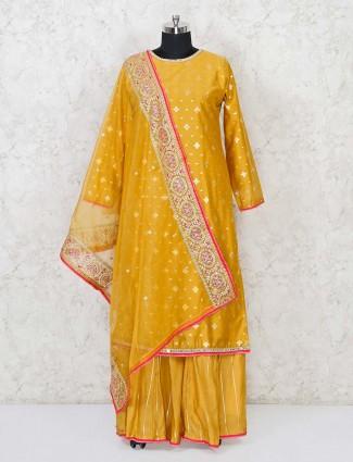 Gold cotton silk zari weaving punjabi lehenga suit