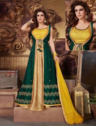 Gold green silk designer indo western lehenga suit